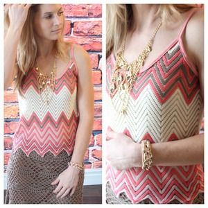 Tops - New open knit chevron tank