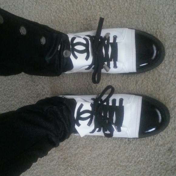 55 chanel shoes channel black and white tennis