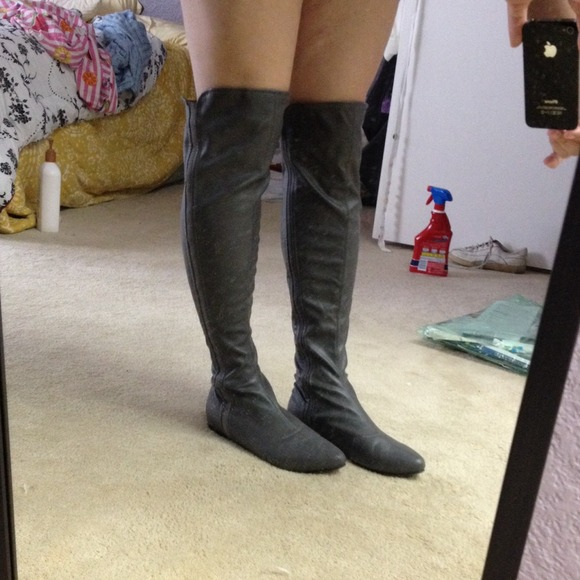 55% off Shoe Dazzle Shoes - Gray Over the Knee Boots REDUCED from ...