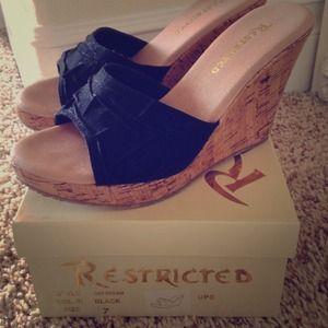restricted  Shoes - Restricted black platform wedge