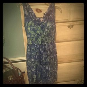 BRIGHT BLUE AND GREEN FLORAL DRESS!