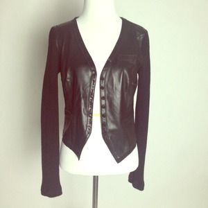 Dinou Jackets & Blazers - Combination Leather + Knit Jacket