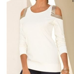 Boston Proper Tops - New pretty cold shoulder sequin sweatshirt