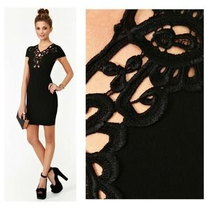 Plunging cutout black body-con dress