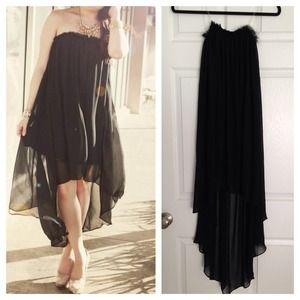 Strapless high-low chiffon dress