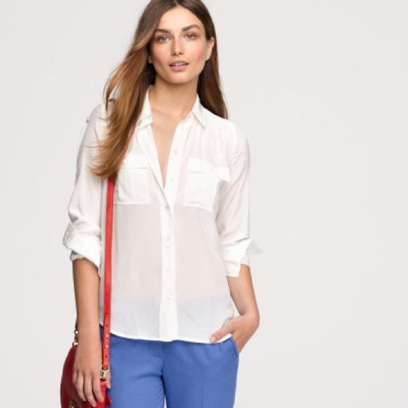3b006499d1018 J. Crew Tops - J Crew Off White Blythe Silk Button Down Shirt