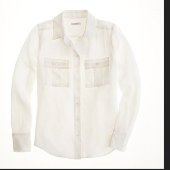 80% off J. Crew Tops - J Crew Off White Blythe Silk Button Down ...