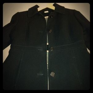 J Crew black lady day coat with thinsulate, size 6