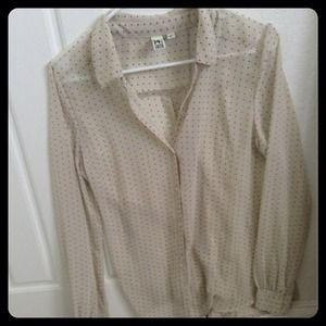 Sheer polka dot shirt. Size S