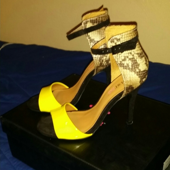 63% off JustFab Shoes - Yellow/Black/Faux Snakeskin Heels from ...