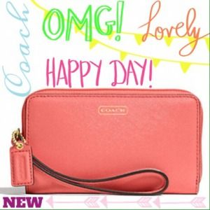 Coach Accessories - ✨HOLD Auth Coach Leather Wristlet/Phone Case