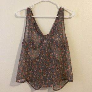 579 Tops - Gray with pink flowered tank M