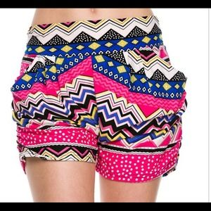 Pants - Hot pink turquoise aztec tribal print shorts