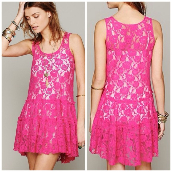 60% off Free People Dresses &amp Skirts - Free People Pink Sheer Lace ...
