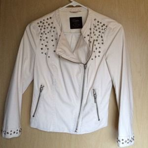White cropped studded moto jacket