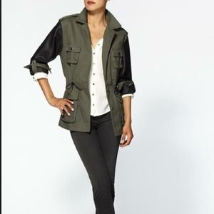 Stones Jackets & Blazers - Stones olive military coat w/vegan leather sleeves