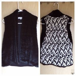 Ann Taylor Outerwear - Black faux fur vest w/knit B/W back