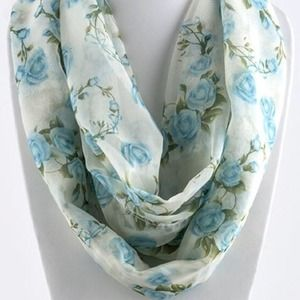 Accessories - Rosette Infinity Scarf/Blue. Price Firm