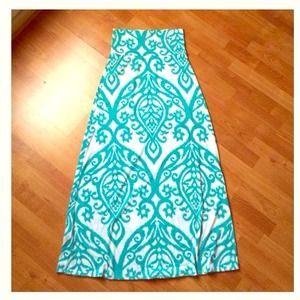 BUNDLE🔵Gorgeous teal damask maxi skirt