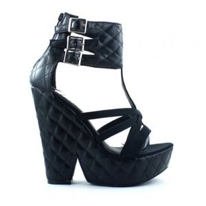 Shoes - NEW Quilted Faux Black Leather Wedges + Cuffs