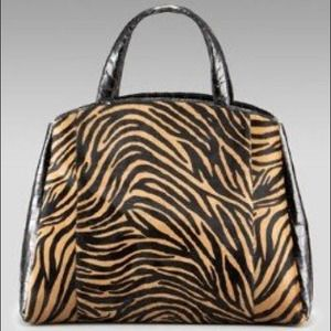 Nancy Gonzalez Zebra Hobo tan  & black NWT
