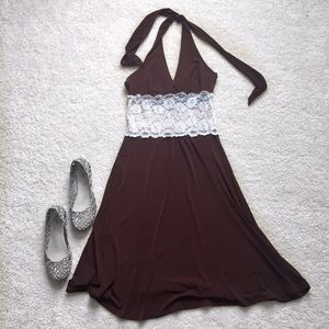 Wet Seal Dresses & Skirts - Brown lace jersey dress