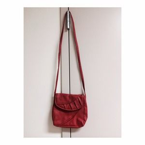 Red faux leather cross body