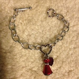 Swarovski red dress charm bracelet