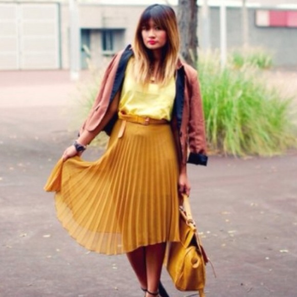Pleated Mustard Yellow Midi Skirt XS from Leah's closet on Poshmark