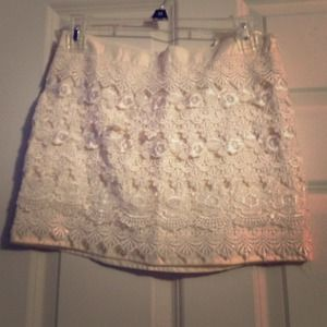 Cream lace mini skirt