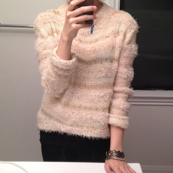 54% off English Rose Sweaters - Gold and cream fuzzy sweater by ...