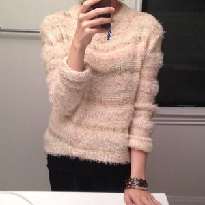 English Rose Sweaters - Gold and cream fuzzy sweater by English Rose!