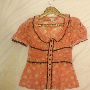Anthropologie Pink & Brown Floral Blouse