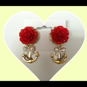 Gold nautical rose earrings