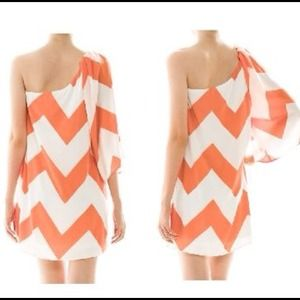 Coral/White Chevron Dress