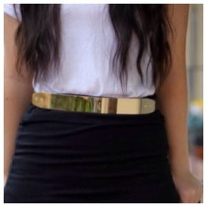 Accessories - NEW Chic Faux Black Leather & Gold Skinny Obi Belt