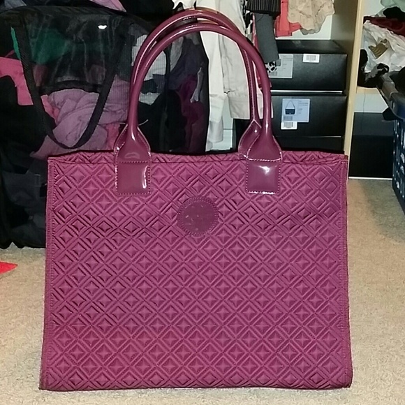 5ea159328626 Authentic Tory Burch Burgundy Ella Quilted Tote
