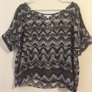 NWT gray sheer chiffon top