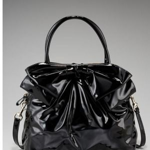 Authentic Valentino Black Lacca dome bow bag, Used