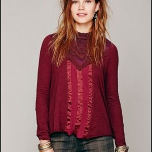 NWT XS Free People Victorian Lace High Neck Top