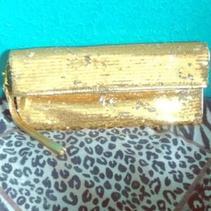 100% Authentic Michael Kors Clutch (gold sequin)