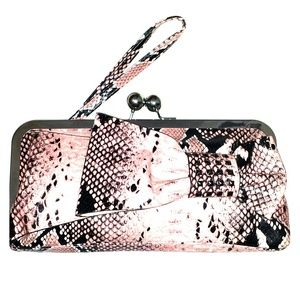 Pink/Black Clutch with Wristlet Strap