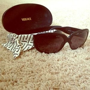 Authentic Versace large black sunglasses