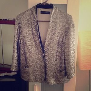 Zara silver sequin cropped jacket