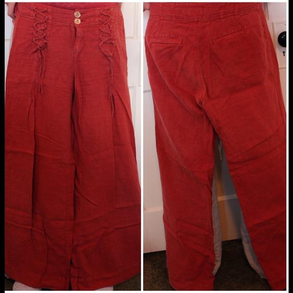 76% off Elevenses Pants - Anthropologie Wide Leg Burnt Orange ...
