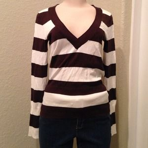 Sophomore Sweaters - NWOT Brown and White Striped Sweater