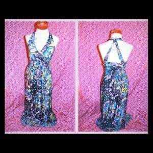 Aqua blue navy print open back halter maxi dress M