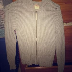 Light Grey Knitted Zip up Sweater with Hoodie