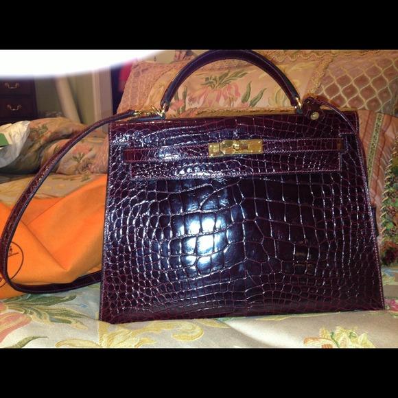 540c64742b33  Hermes  porosus  crocodile  Kelly  handbag