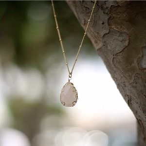 Pink Teardrop Gold Necklace